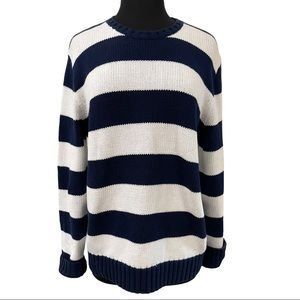 Magaschoni Blue And White Striped Sweater Sz L